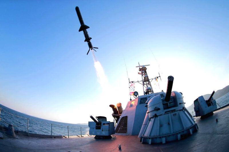 "Photo provided by Korean Central News Agency (KCNA) on Feb. 7, 2015 shows a test-firing of a ""newly developed anti-ship rocket"" in the ..."