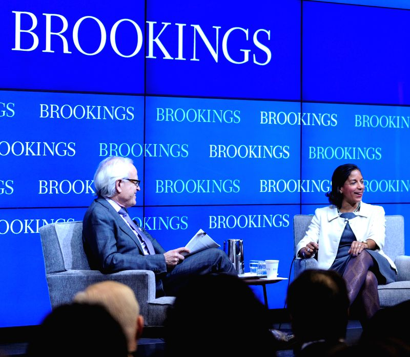 U.S. National Security Aadviser Susan Rice (R) speaks at the Brookings Institution in Washington D.C., capital of the United States, Feb. 6, ...