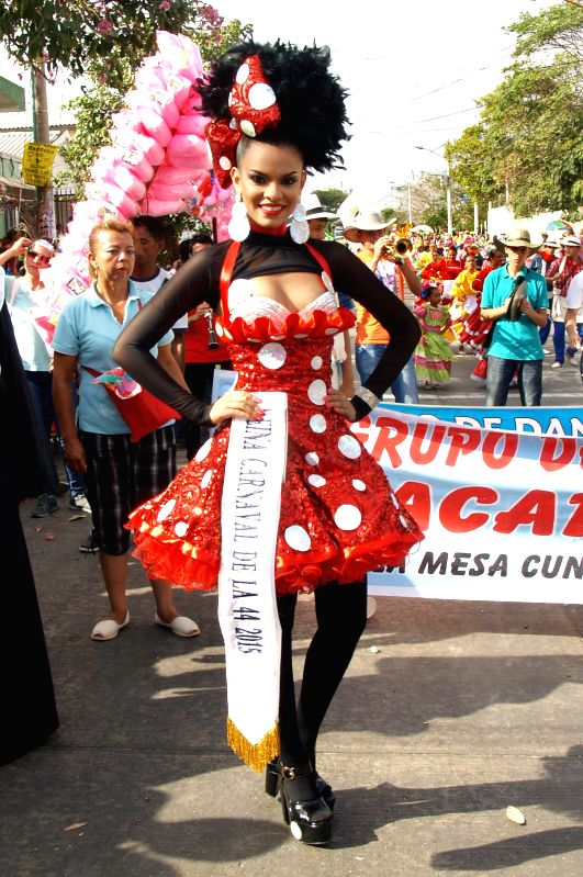 """Queen of Carnival of the 44"" poses in a parade during the Barranquilla Carnival, in the Cumbiadrome of Barranquilla, Colombia, on Feb. .."