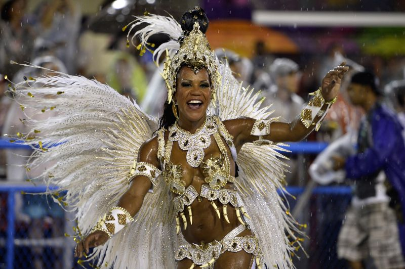 "A dancer participates in the parade of the Samba school ""Unidos do Viradouro"", in the first performing night of the Special Group of ..."