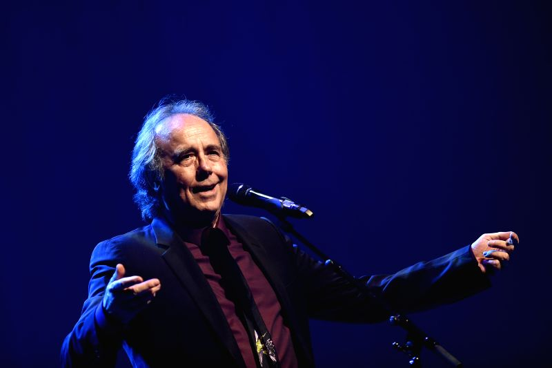 "Spanish singer Joan Manuel Serrat performs during a concert of his world tour ""Antologia Desordenada"", in the National Auditorium of the ..."