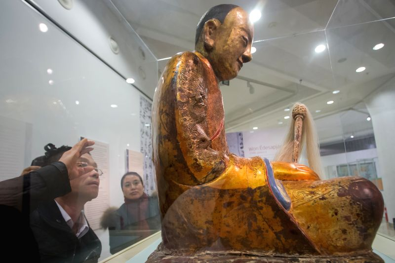 File photo taken on March 3, 2015 shows the Chinese Buddha statue at the Hungarian Natural History Museum in Budapest, Hungary. A Buddha statue that ...
