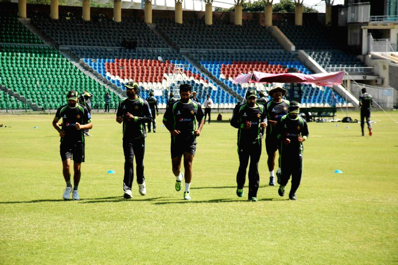Pakistani cricketers attend a training session for the upcoming Bangladesh cricket tour at the Gaddafi Stadium in eastern Pakistan's Lahore, April 10, ...