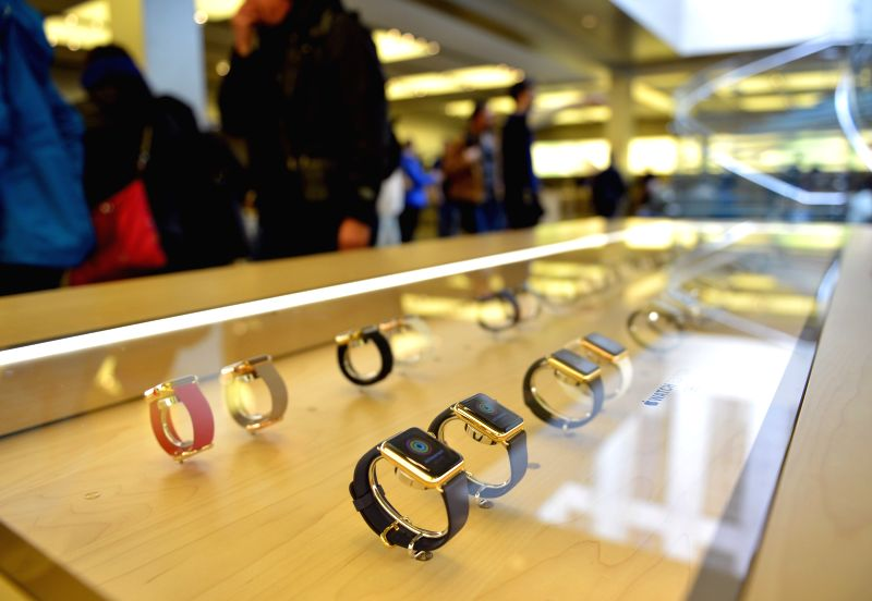 Photo taken on April 24, 2015 shows Apple Watches in New York, the United States. The Apple Watch goes on sale around the world on Friday. ...
