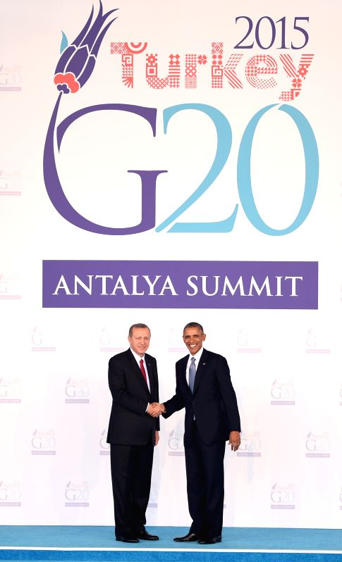151115) --Turkish President Recep Tayyip Erdogan (L) shakes hands with U.S. President Barack Obama on the welcoming ceremony of G20 Summit held in Antalya, Turkey, ...