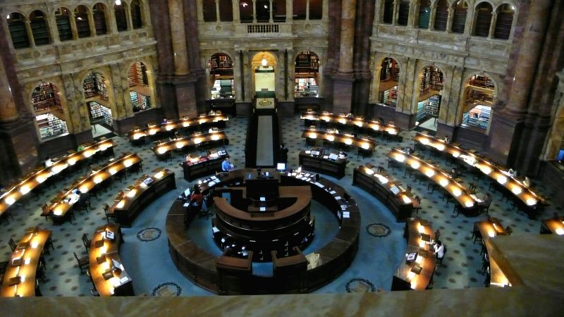 Photo taken on Dec.9, 2015 shows the Main Reading Room in the Library of Congress in Washington D.C, the United States. Founded in 1800, the ...