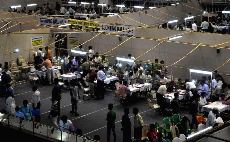2014 Lok Sabha Election - Counting underway at Netaji Indoor Stadium counting centre in Kolkata on May 16, 2014.