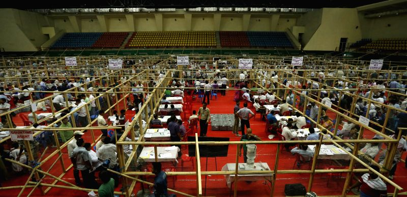 2014 Lok Sabha Election - Counting underway at Sarusajai Stadium counting centre in Guwahati on May 16, 2014.