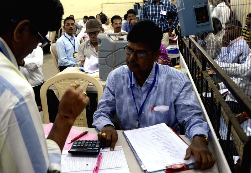 2014 Lok Sabha Election - Counting underway at a counting centre in Mumbai on May 16, 2014.