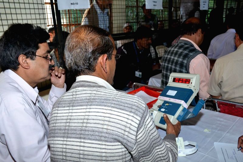 2014 Lok Sabha Election - Counting underway at a counting centre in Shimla on May 16, 2014.