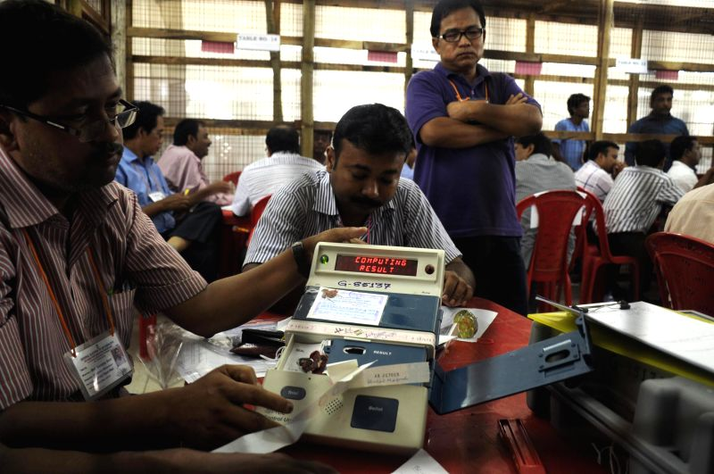 2014 Lok Sabha Election - Counting underway at a counting centre in Agartala on May 16, 2014.