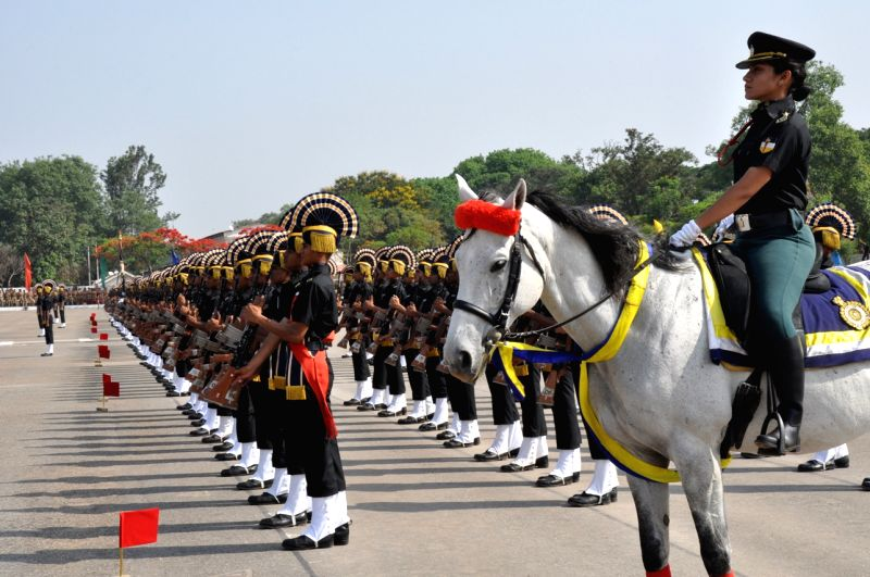 240 recruit trainees from No 2 Army Service Corps Training Centre during passing out parade in Bengaluru on April 24, 2017.