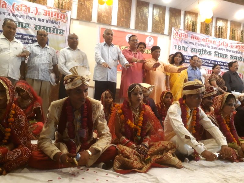 49 couples entered wedlock during a mass marriage ceremony at the Mathur Vaishya Sabha Hall in Agra on July 24, 2018.