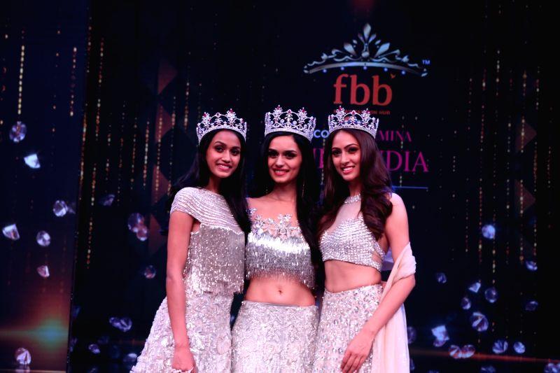 54th Femina Miss India World 2017 winner Manushi Chhillar (C), first runner-up Sana Dua (R) and the second runner-up Priyanka Kumari (L)  during the fbb femina Miss India 2017 in Mumbai, on ...