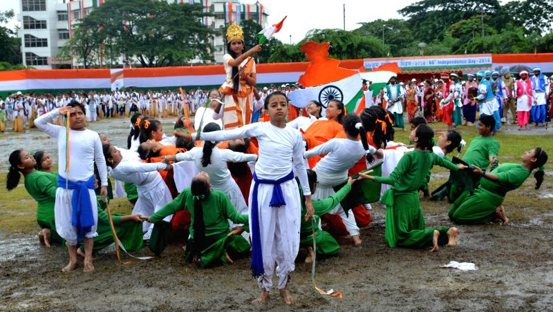 68th Independence Day celebrations underway at Veterinary Field in Guwahati on Aug 15, 2014.