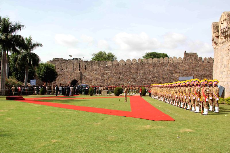 68th Independence Day Parade at Golkonda Fort, some 11 km away from Hyderabad on Aug 15, 2014.