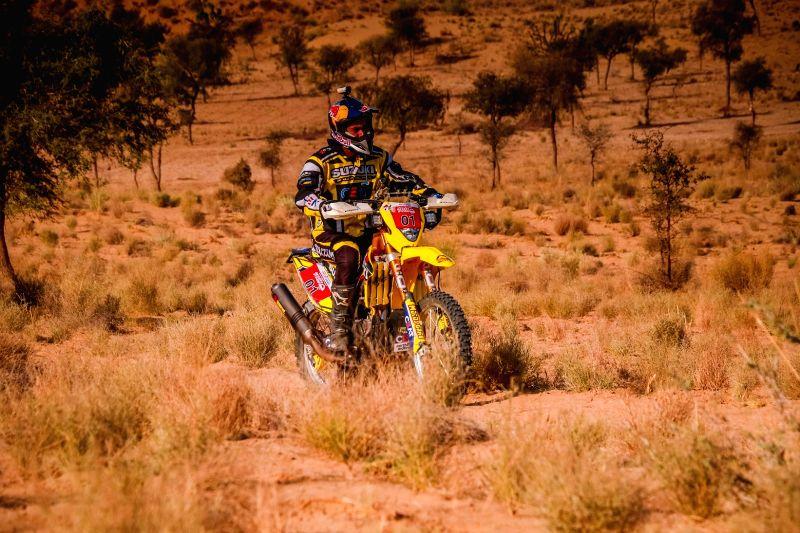 A biker participates in Maruti Suzuki Desert Storm rally in Hanumangarh, Rajasthan. 