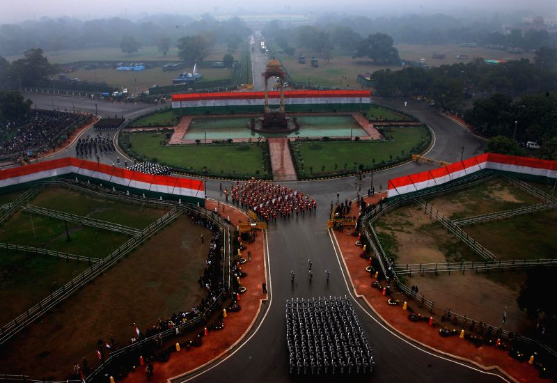 A birds eve view of  Republic Day Parade on Rajpath in New Delhi, on Jan 26, 2015.
