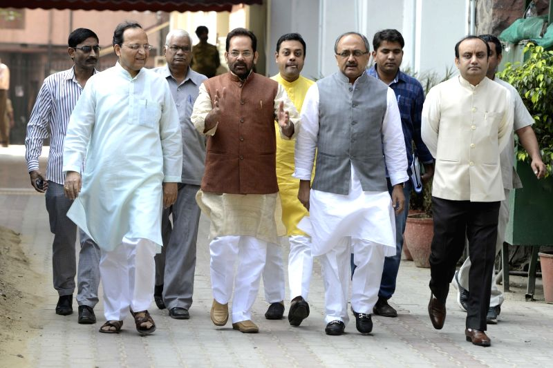 A BJP delegation comprising of Union Minister of State for Minority Affairs Mukhtar Abbas Naqvi, Arun Singh, Chandan Mitra and Sambit Patra, Siddharth Nath Singh comes out after meeting ... - Arun Singh and Siddharth Nath Singh