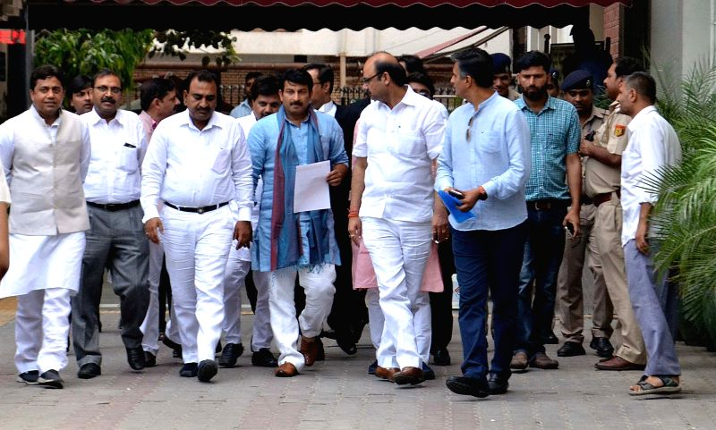 A BJP delegation led by Delhi BJP chief Manoj Tiwari come out after meeting election commissioner in New Delhi on May 9, 2017.