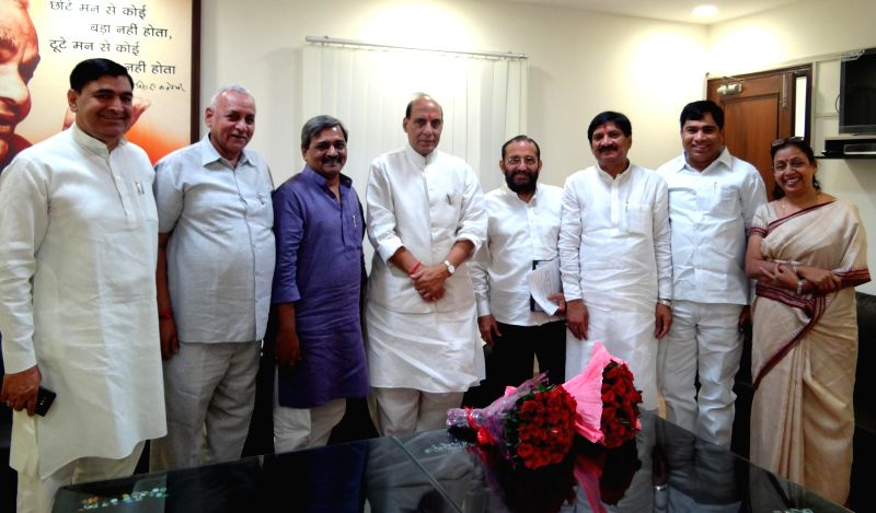A BJP delegation led by Delhi BJP chief Satish Upadhyay during a meeting with Union Home Minister Rajnath Singh in New Delhi on July 20, 2014. - Rajnath Singh and Satish Upadhyay