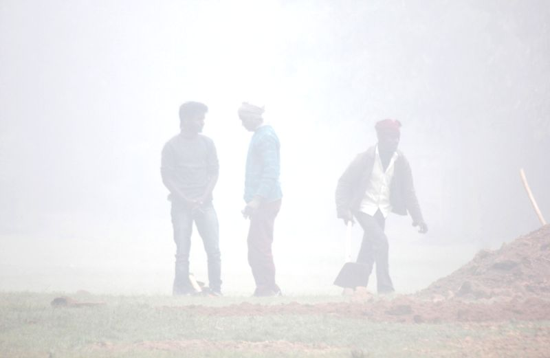 A blanket of dense fog covers New Delhi on Jan 8, 2015.