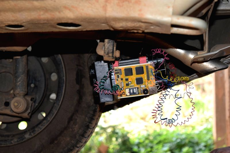 A bomb that was found planted in a car at Byrnihaat in Meghalaya, near Guwahati on Nov. 13, 2015.