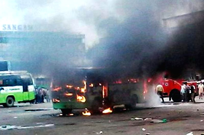 A bus catches fire near a bus stand in Amritsar on Sept 1, 2014. Reportedly no one was killed in the accident.