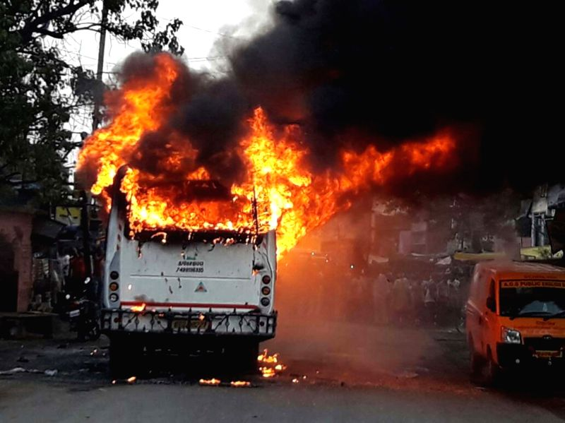 A bus catches fire near Harnaaut area of Bihar's Nalanda district killing nine passengers aboard and injuring half a dozen others on May 25, 2017.