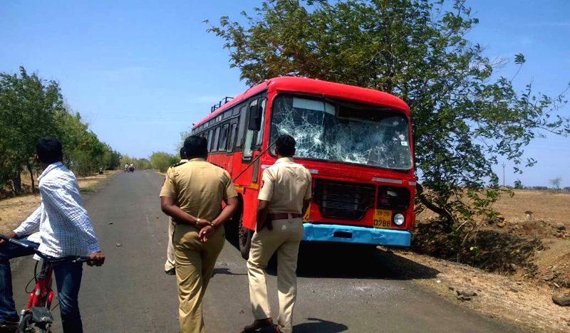 A bus that was damaged by striking farmers in Osmanabad district of Maharashtra on June 5, 2017.