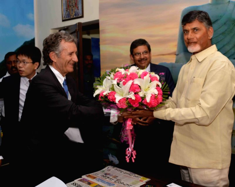 A business delegation from Japan calls on Andhra Pradesh Chief Minister N Chandrababu Naidu in Hyderabad, on May 17, 2016. - N Chandrababu Naidu