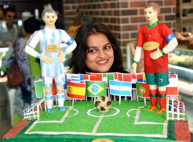 A cake themed on 2018 FIFA World Cup Russia at a Kolkata shop on June 13, 2018.