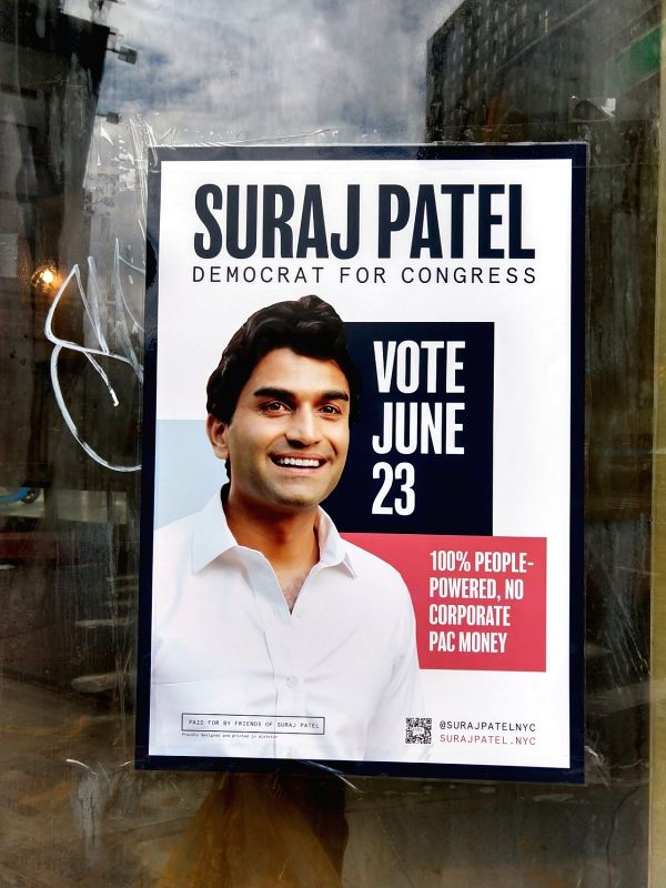 A campaign poster in New York City for Suraj Patel, who is a candidate for the Democratic Party nomination to run for Congress from a city constituency. (Photo: Arul Louis/IANS)