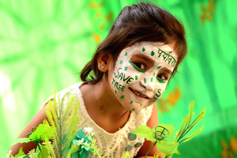 A child paint her face on the eve of World Environment Day in Ajmer on June 4, 2017.