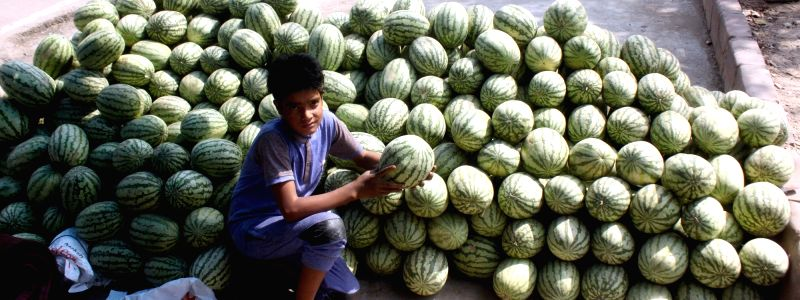 A child sells watermelon in New Delhi, on April 21, 2017. The temperature in the national capital continued to soar further with the minimum recorded at 28.9 degrees Celsius, six notches ...