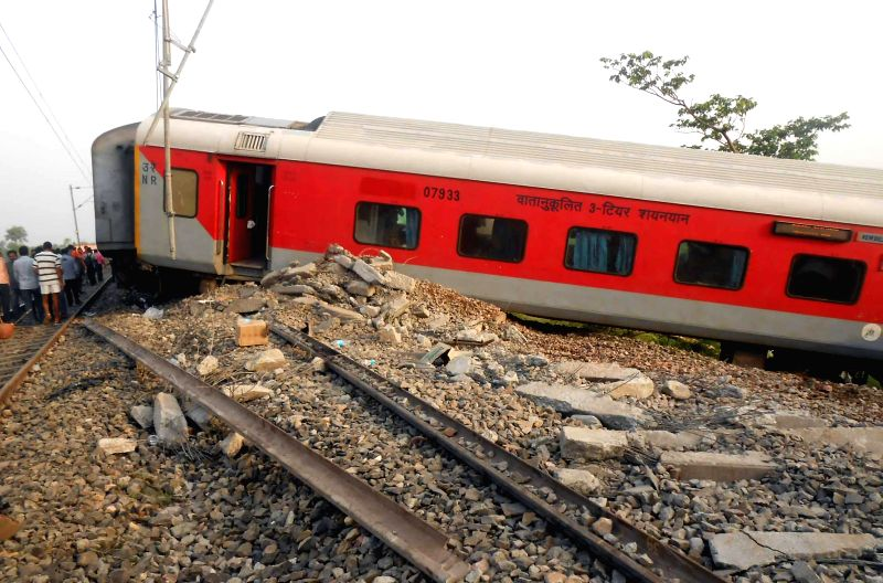 A coach of Delhi-Dibrugarh Rajdhani Express which was derailed near Golden Ganj railway station in Bihar's Saran district on June 25, 2014. At least four people were killed and eight injured after ...
