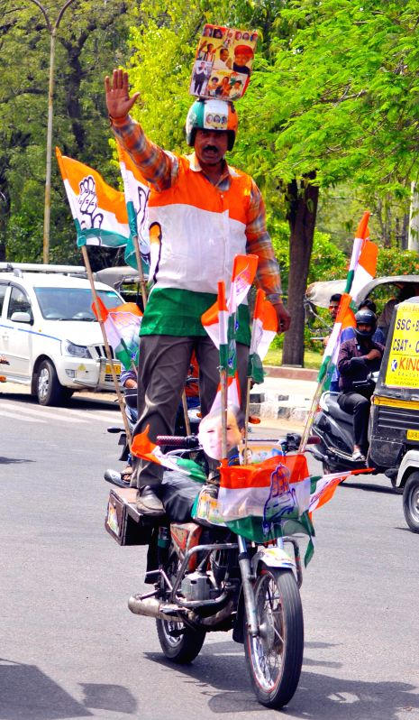 A Congress activist during an election campaign in Jaipur on April 12, 2014.