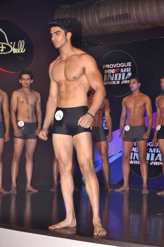 A contestant during the Provogue Mr India 2014 finale in Mumbai, on May 8, 2014.
