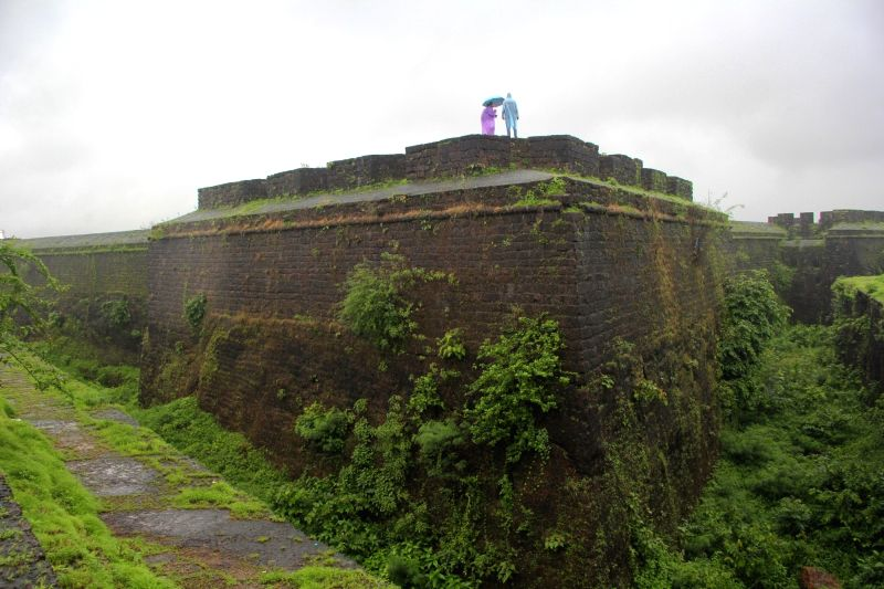 A couple taking selfie at the famous Fort Aguada despite heavy rain at Aguada, Goa on July 23, 2016.