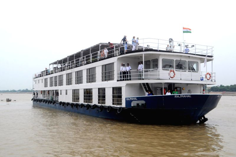 A cruise ship enroute to Chunar from Kolkata on the Ganga river in Varanasi on Aug 30, 2014.