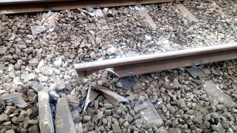 A damaged track at the spot where seven wagons of the Kota-Calicut train carrying a consignment of foodgrain derailed at Karanjadi, around 200 kms south of Mumbai, on Aug 24, 2014.