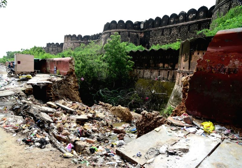 A damaged wall of the Junagarh Fort, a portion of which collapsed after heavy rains, in Bikaner on July 25, 2018.