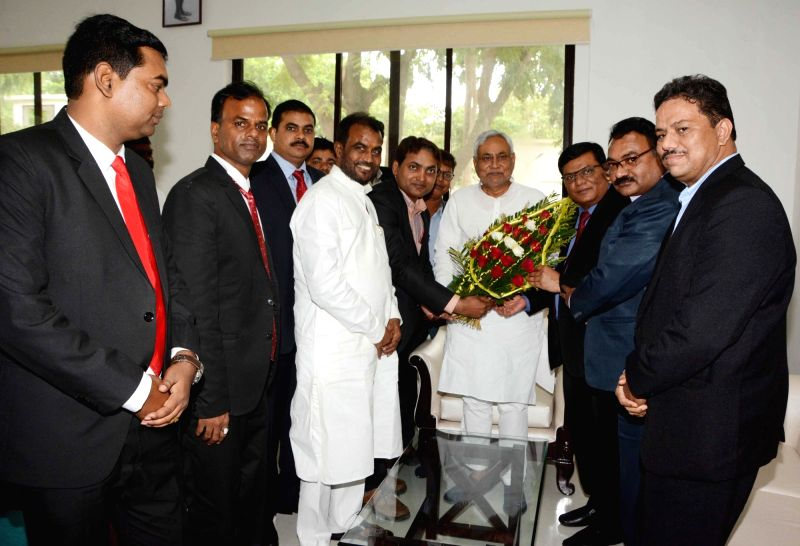 A delegation from Dalit Indian Chamber of Commerce and Industry (DICCI) meets Bihar Chief Minister Nitish Kumar, in Patna on July 30, 2018. - Nitish Kumar