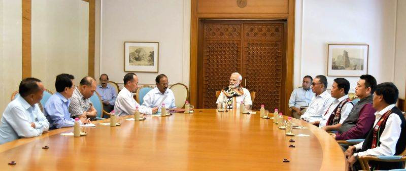 A delegation from Nagaland Tribes Council calls on Prime Minister Narendra Modi in New Delhi on May 19, 2017. - Narendra Modi
