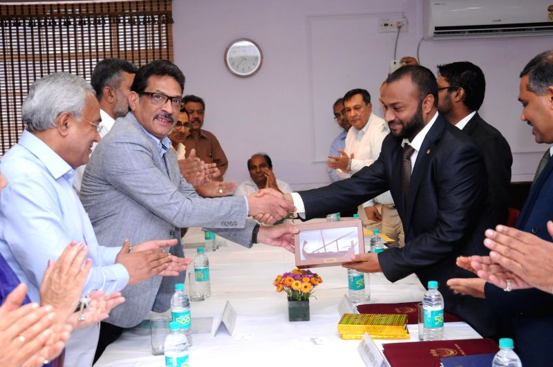 A delegation led by Dr. Mohamed Shaheem Ali Saeed, Minister of Islamic Affairs of the Republic of Maldives during their visit to Jamia Millia Islamia in New Delhi on April 17, 2014.