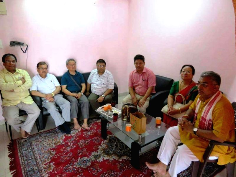 A delegation led by Gorkha Janmukti Morcha (GJM) general secretary Roshan Giri meet West Bengal BJP president Dilip Ghosh in Kolkata on June 7, 2017. - Dilip Ghosh