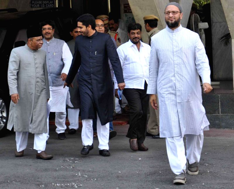 A delegation led by MIM president Asaduddain Owaisi coming out from the secretariat after meeting Telangana Chief Minister K Chandersheker Rao in Hyderabad on June 16, 2014.