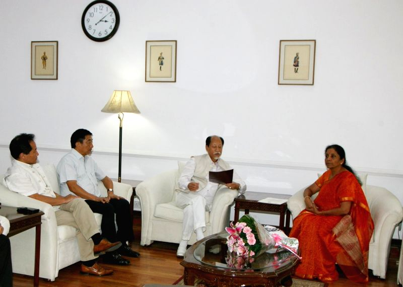 A delegation led by Nagaland Chief Minister Neiphiu Rio calls on Defence Minister Nirmala Sitharaman, in New Delhi on July 12, 2018. - Neiphiu Rio