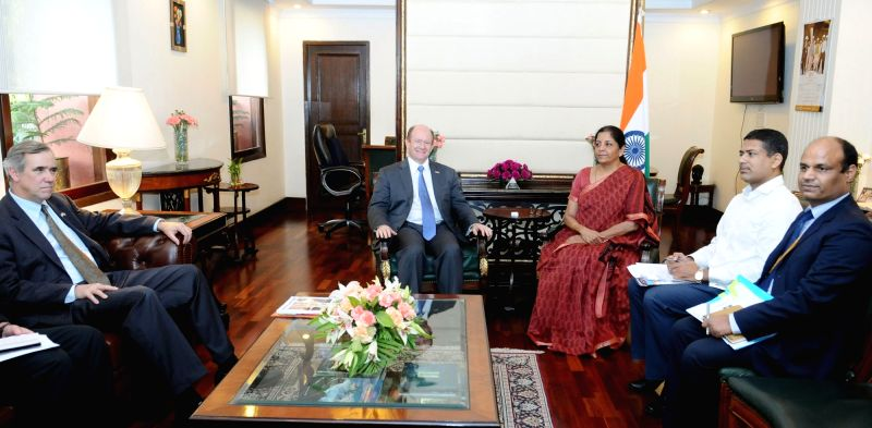 A delegation led by the US Senator Christopher Coons meets Union Minister of State for Commerce & Industry (Independent Charge) Nirmala Sitharaman in New Delhi on April 18, 2017.