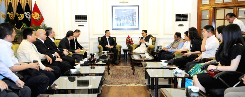 A delegation led by the Vice Chairman, Shenzen Committee of Chinese People's Political Consultative Conference Wang Pu calls on Union Minister of State for Home Affairs Kiren Rijiju, in ...